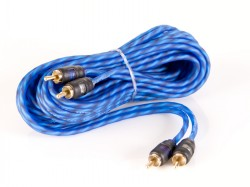 5m 2 CH RCA Kabel transparent blue kurze Stecker